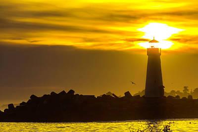 Photograph - Walton Lighthouse Sun And Fog by Garry Gay
