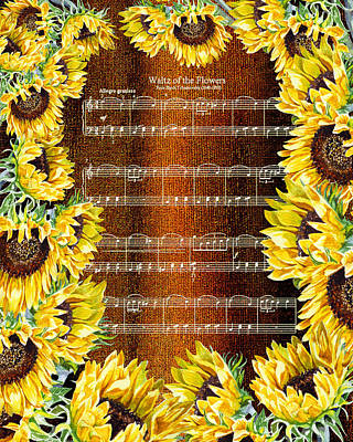 Painting - Waltz Of The Flowers Sunflowers by Irina Sztukowski