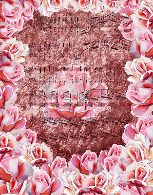Painting - Waltz Of The Flowers Pink Roses by Irina Sztukowski