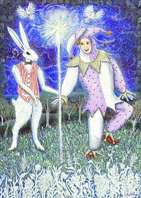 Painting - Wand With Magician And Jester by Lise Winne