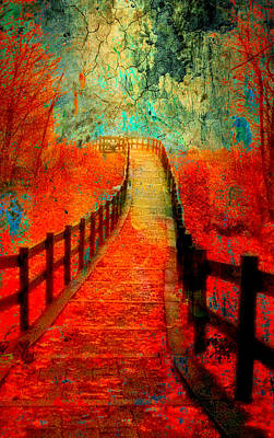 Walkway Digital Art - Wander Bridge by Greg Sharpe
