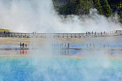 Photograph - Wandering And Wondering At Grand Prismatic Spring by Bruce Gourley