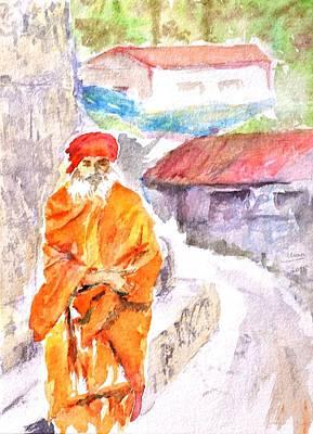 Sadhu Painting - Wandering Yogi by Uma Krishnamoorthy