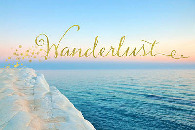 Coastal Quote Wall Art - Mixed Media - Wanderlust, Santorini Greece Ocean Coastal Sentiment Art by Tina Lavoie