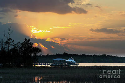 Photograph - Wando River Magical Yellow Hues by Dale Powell
