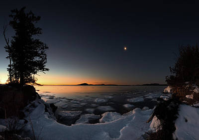 Gichigami Photograph - Waning Crescent Over Sturgeon Bay by Jakub Sisak