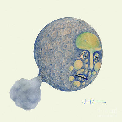 Man In The Moon Mixed Media - Waning Moon by Jim Rehlin
