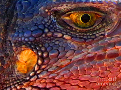 Wanna Iguana Art Print by Ron Tackett