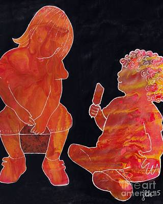 Painting - Besties - Want To Share My Popsicle? by Lori Kingston