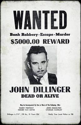 Wanted John Dillinger 1934 Art Print