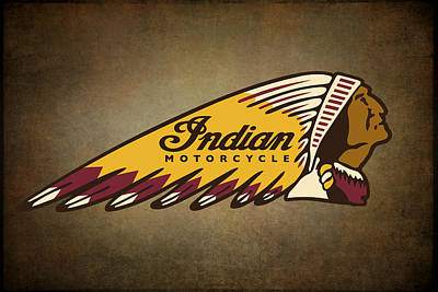 Harley Wall Art - Digital Art - War Bonnet Indian Motorcycle Vintage Logo by Daniel Hagerman
