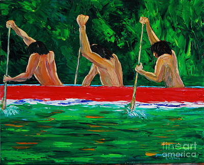 war canoe races 1977 Nooksack tribe Wa  Art Print by George Chacon