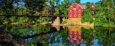 War Eagle Grist Mill Panorama - Arkansas Art Print