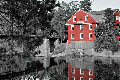 Photograph - War Eagle Mill Northwest Arkansas - Two Tone by Gregory Ballos