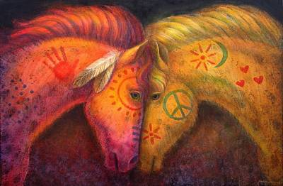 Western Art Painting - War Horse And Peace Horse by Sue Halstenberg