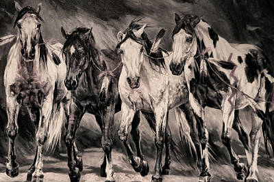 Mixed Media - War Horses by Dennis Baswell