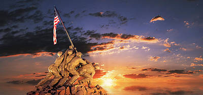 Usmc Photograph - War Memorial At Sunrise, Iwo Jima by Panoramic Images