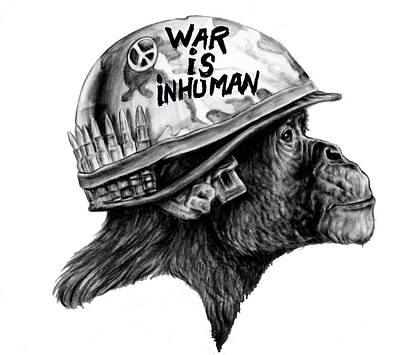 Drawing - War Monkey by Ole Hedeager Mejlvang