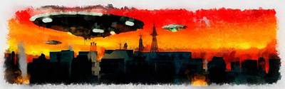 Independence Day Painting - War Of The Worlds by Esoterica Art Agency