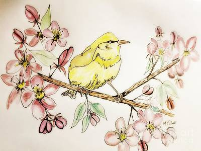 Mixed Media - Warbler In Apple Blossoms by Maria Urso