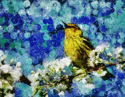 Digital Art - Warbler Of Spring by Mario Carini