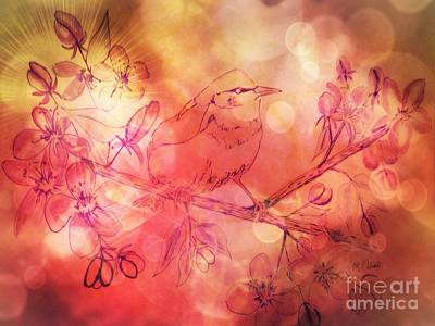 Mixed Media - Warbler Sunset by Maria Urso
