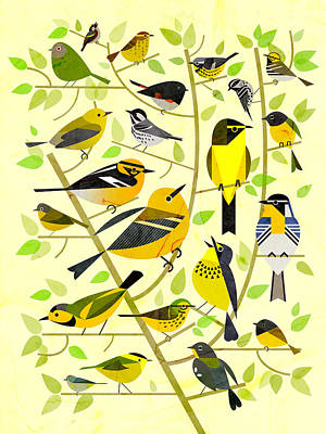 Warbler Digital Art - Warblers 1 by Scott Partridge