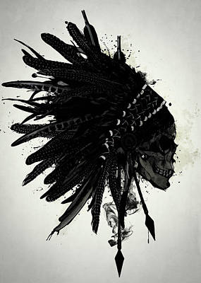 Indian Wall Art - Digital Art - Warbonnet Skull by Nicklas Gustafsson