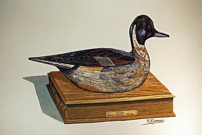 Drake Painting - Ward Pintail Decoy by Raymond Edmonds