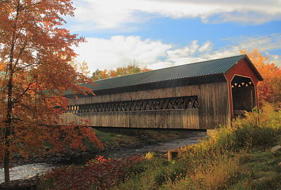 Photograph - Ware Gilbertville Covered Bridge In Autumn by John Burk
