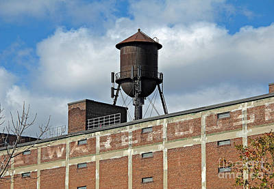 Photograph - Warehouse Water Tower by Ethna Gillespie