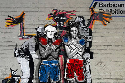 Digital Art - Warhol And Basquiat In Boxing Gloves Over Banksy - Everlast by Serge Averbukh