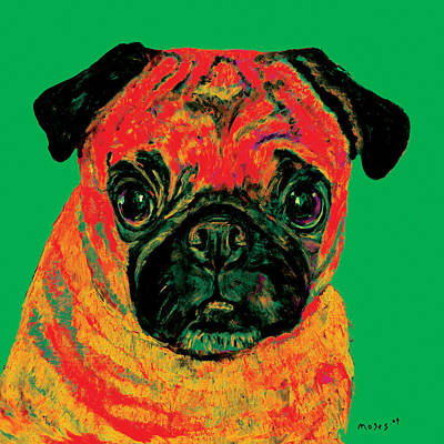 Painting - Warhol Pug Green by Dale Moses