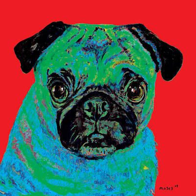 Painting - Warhol Pug Red by Dale Moses