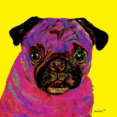 Painting - Warhol Pug Yellow by Dale Moses