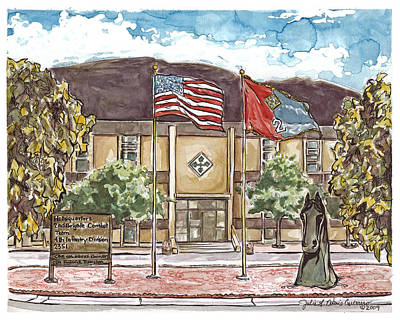 Painting - Warhorse Bde Headquarters Building by Julie Davis