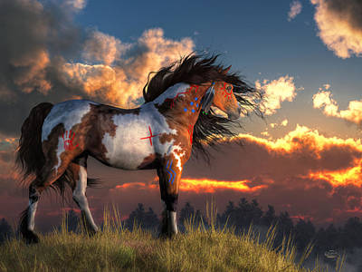 Paint Horse Digital Art - Warhorse by Daniel Eskridge