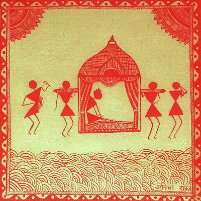 Indian Tribal And Folk Art Painting - Warli Bride Painting  by Ankita Raut