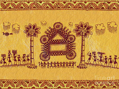 Warli Ceremony Print by Subhash Limaye