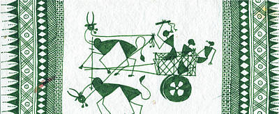 Warli Farmers In Bullock Cart Print by Subhash Limaye