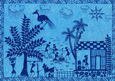 Warli Farming Print by Subhash Limaye
