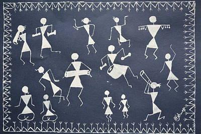 Warli Girls Art Print by Ishwarya Anne