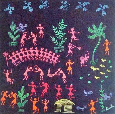 Warli Painting - Warli Life 8 by Preeta Rajendra