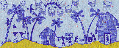 Warli Morning Print by Subhash Limaye