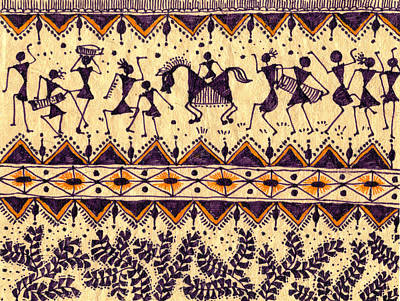 Warli Procession Print by Subhash Limaye