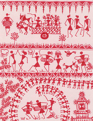 Warli Rejoicing Print by Subhash Limaye