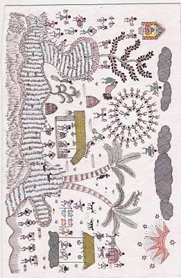 Warli Painting - Warli Tribal Scene by Reetu Rustagi