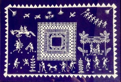 Tarpa Dance Painting - Warli Village  by Meena Patankar