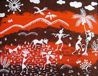Indian Tribal Art Mixed Media - Warli Village Scene by Sowjanya Sreeram