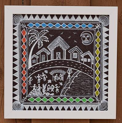 Warli Village Print by ShilpiCreativeArts
